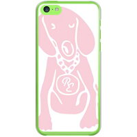 docomo Dog ホワイト×ピンク design by ROTM (クリア) / for iPhone 5c/docomo (SECOND SKIN)