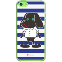 docomo Doggy Stripe ネイビー (クリア) design by Moisture / for iPhone 5c/docomo (SECOND SKIN)