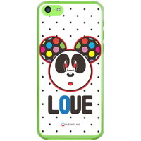 softbank Love Panda ブラックドット (クリア) design by Moisture / for iPhone 5c/SoftBank (SECOND SKIN)