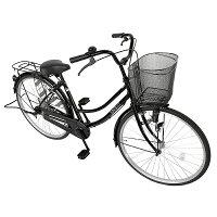 自転車 シンプルフレームママチャリ サントラスト ママチャリ 軽快車 ブラック/黒色 自転車 SUNTRUST -裾 SUSO