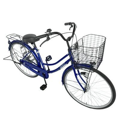 自転車 オートライト ママチャリSUNTRUSTサントラスト 軽快車ブルー/青