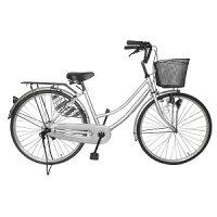 自転車 シンプルフレームママチャリ サントラスト ママチャリ 軽快車 シルバー/銀色 自転車 SUNTRUST -裾 SUSO すそ