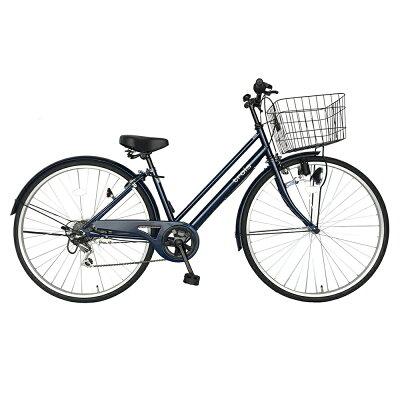 サントラスト自転車 シティサイクル ネイビー 自転車trois トロワ ママチャリ 6段変速ギア 27インチ