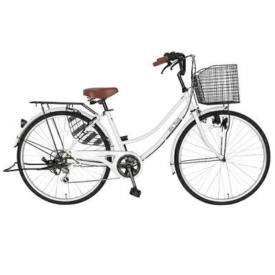 自転車 デザインフレームでサントラストママチャリ 軽快車ママチャリ自転車ホワイト dixhuit6段変速ギアしゃれフレーム 26インチ ギア付 鍵付