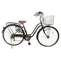 自転車しゃれなママチャリ デザインフレームSUNTRUSTサントラスト 軽快車ブラウン/茶色 買い物に最適27インチ