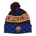 FCバルセロナ オフィシャル ボンボン ニットキャップ チェッカー柄 ブルー