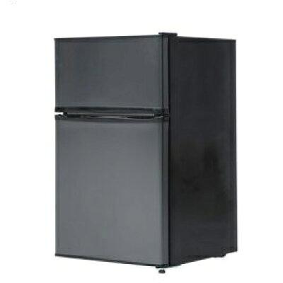 JR090ML01GM maxzen 2ドア冷蔵庫90L 左右開き ガンメタリック