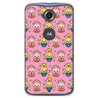 (スマホケース)みしまるくん・みしまるこちゃんシリーズ 総柄デザイン お正月ver ピンク (クリア)/ for Nexus 6/Y!mobile