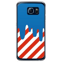 SECOND SKIN DRIP ブルー/レッド クリア / for Galaxy S6 SC-05G/docomo DSC05G-PCCL-299-H003