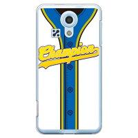 スマートフォンケース  Cf LTD ベースボールユニフォーム ホワイト×ブルーゴールド クリア  miraie  L23/au