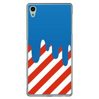 SECOND SKIN DRIP ブルー/レッド クリア / for Xperia Z4 SO-03G/docomo DSO03G-PCCL-299-H003
