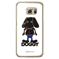 SECOND SKIN Doggy Pure ホワイト クリア design by Moisture / for Galaxy S6 edge 404SC/SoftBank SSC404-PCCL-277-Y270