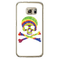 SECOND SKIN Psychedelic skull グリーン×イエロー クリア design by ROTM / for Galaxy S6 edge SCV31/au ASCV31-PCCL-202-Y697