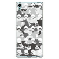 SECOND SKIN Skull monogram 都市型迷彩 ソフトTPUクリア design by ROTM / for Xperia Z4 SOV31/au ASOV31-TPCL-702-J144