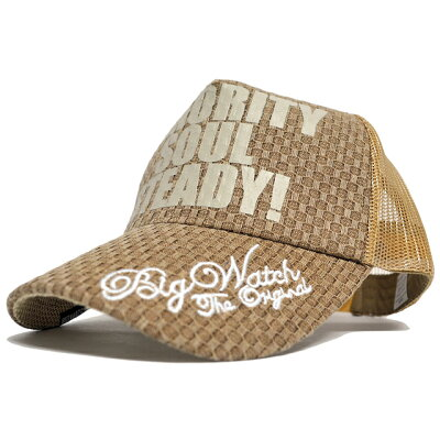 大きいサイズ/帽子/カーボンキャップ BIGWATCHブラウン/ベージュメッシュキャップ/ビッグサイズビッグワッチ