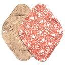華布 オーガニックコットンの布ナプキンホルダー 約17×約23cm 1枚入り バード/オレンジ