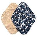 華布 オーガニックコットンの布ナプキンホルダー 約17×約23cm 1枚入り バード/ネイビー