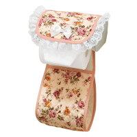 トイレ用品 バラ柄キルト トイレットペーパーホルダー