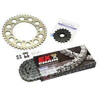 SUNSTAR サンスター スプロケット フロント・リアスプロケット&チェーン・カシメジョイントセット チェーン銘柄:EK製GP520ZTD Threed ゴールドチェーン CRF250R