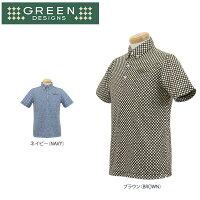 グリーンデザインズ メンズ 半袖 総ドット柄 ボタンダウン ポロシャツ GDS5 ゴルフウェア 36