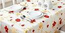 テーブルクロス 106x152 PVC 素材 防水 撥水 花柄 幸せの黄と赤のお花
