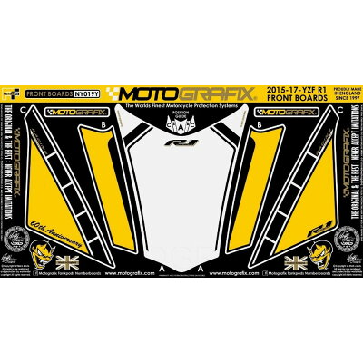 MOTOGRAFIX モトグラフィックス ステッカー・デカール ボディパッド カラー:イエロー YZF-R1 15-17 YZF-R1M