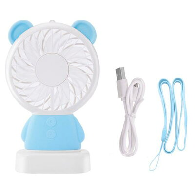 aglow 手持ちミニ扇風機 くま ブルー IQ-TF-BE-BL