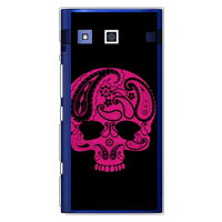 (スマホケース)Paisley skull ブラック (クリア)design by ROTM / for URBANO V01/au (SECOND SKIN)