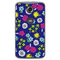 (スマホケース)サマーフラワーズ ブルー (クリア)/ for Nexus 6/Y!mobile (Coverfull)