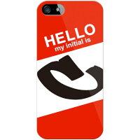 スマートフォンケース  Cf LTD ハローイニシャル C レッド クリア  iPhone SE/5/SoftBank