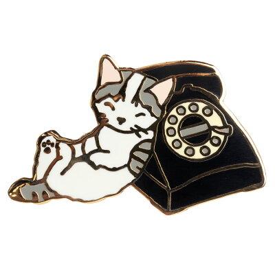 【ポタリングキャット】【ピンズコレクション 電話 猫】(PZ-1)ソフト七宝タイプの魅力のピンズ