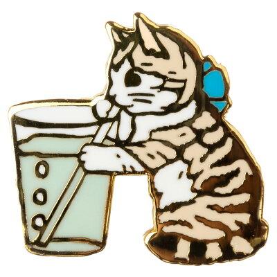 【ポタリングキャット】【ピンズコレクション コップ 猫】(PZ-17)ソフト七宝タイプの魅力のピンズ
