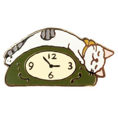 【ポタリングキャット】【ピンズコレクション  時計 猫】(PZ-31)ソフト七宝タイプの魅力のピンズ