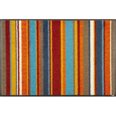 屋内屋外兼用 ウォッシュ&ドライマット stripes burnt orange    c015a