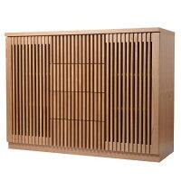 日本製(大川) 天然木タモ材使用 120幅2枚扉引出3段サイドボード