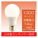 (エコライト)広角LED電球14W90~100W形相当 6000K 昼光色