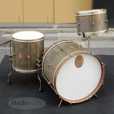 """A&F Drum Co """"The Royals"""" Raw Brass 3pc Drum Kit BD20"""" x 14"""" Walnut Hoops , FT14"""" x 14"""" Raw Brass Hoops , TT12"""" x 8"""" Raw Brass Hoops"""