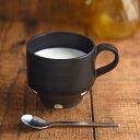 美濃焼 チョコ削り 12cmスタッキング和風マグカップ 水玉/ブラック
