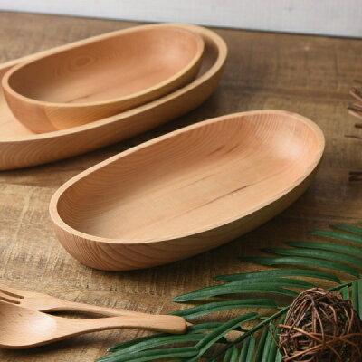 木製カヌー型サラダボウル 中  ナチュラル