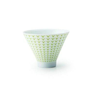 茶白 朝顔形煎茶碗 新芽黄緑
