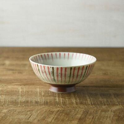 刷毛巻十草 丸型茶碗11.5cm レッド