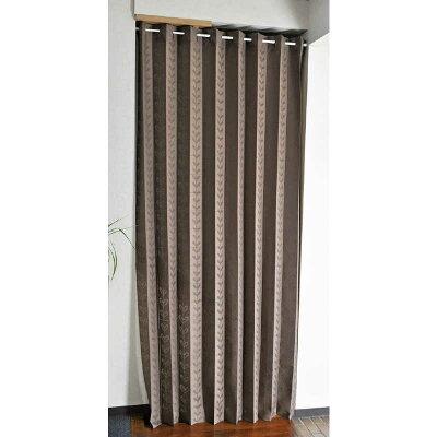 ロング丈 アコーディオンカーテン 約150cm巾×250cm丈1枚組 北欧リーフ柄 / ブラウン 27001-br