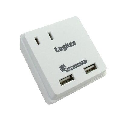USB出力2ポート搭載AC充電器 LA-10W5U2A /ホワイト