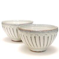 へちもん 白釉彫 飯碗 3-9255