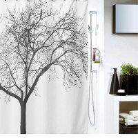 ユニットバス防水シャワーカーテン Cタイプ 木のデザイン フック /FUROKO-C