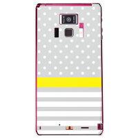 (docomo REGZA Phone T-01D専用) プリントケース クリアベース(ドット/ボーダー グレー)