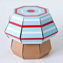 (サンヨープレジャー)子供用ダンボール家具 FunnyPaper FP009 きのこスツール ミントストライプ