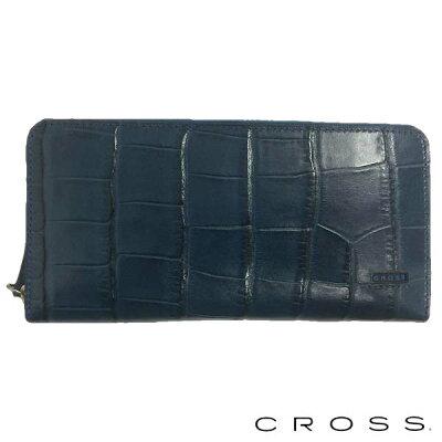 cross クロス coco ラウンドジップ長財布 長札入れ 束入れ ロングウォレット ネイビー ac-198369-50