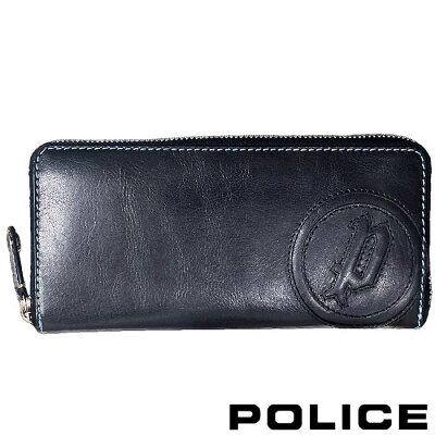 police 長財布 ラウンドジップ basic iv ネイビー ロング ウォレット pa-59302-15