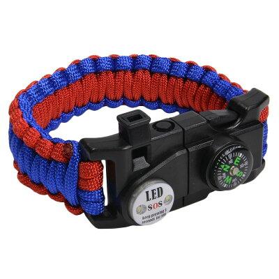 多機能 パラコードブレスレット LEDライト ホイッスル付 レッド&ブルー